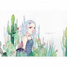 超唯美女生插画漫画教程图片作品 淡淡的水彩美哭了 仙人掌中的女孩