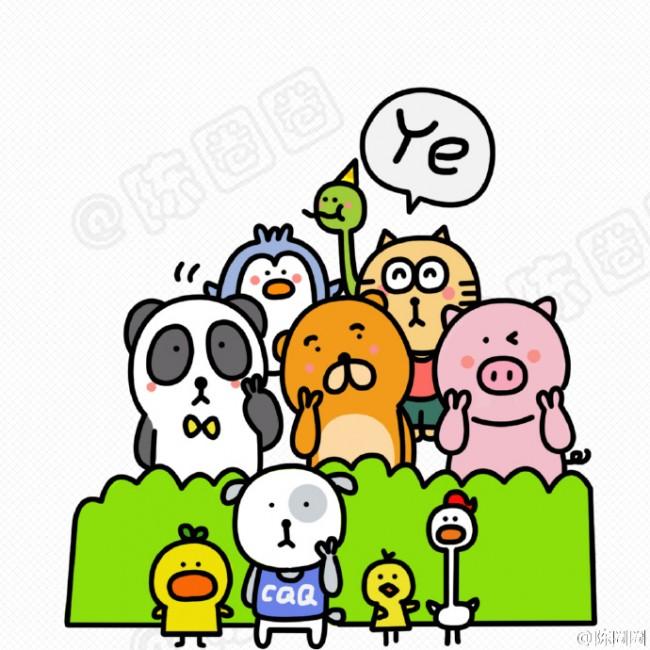 可爱小动物合集简笔画教程图片 小动物们集体自拍照趣味简笔画
