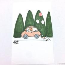 女生开着小车去旅行的简笔画教程图片 关于女生旅行的简笔画图片