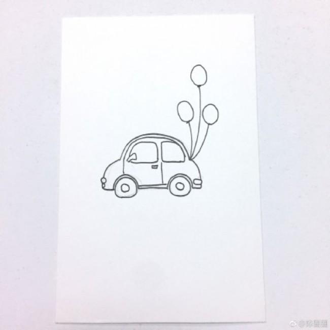 女生开着小车去旅行的简笔画教程图片 关于女生旅行的