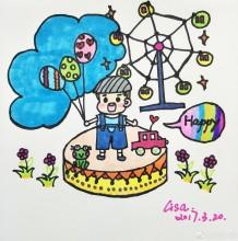 快乐的小男孩简笔画图片 小男孩游乐场玩耍简笔画 摩天轮气球