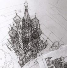 牛人鸟瞰上帝视角建筑手绘图 欧式巴洛克建筑手绘建筑黑白线稿图片