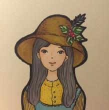 带帽子的清纯女生简笔画教程图片带上色 森系唯美女生漫画图片