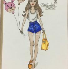 时尚好身材女生逛街购物简笔画教程图片带上色 背心短裤女生购物简笔画画法