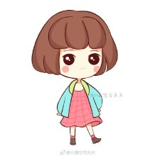 Q版蘑菇头小女生简笔画教程图片彩色 可爱的小女生Q版简笔画画法