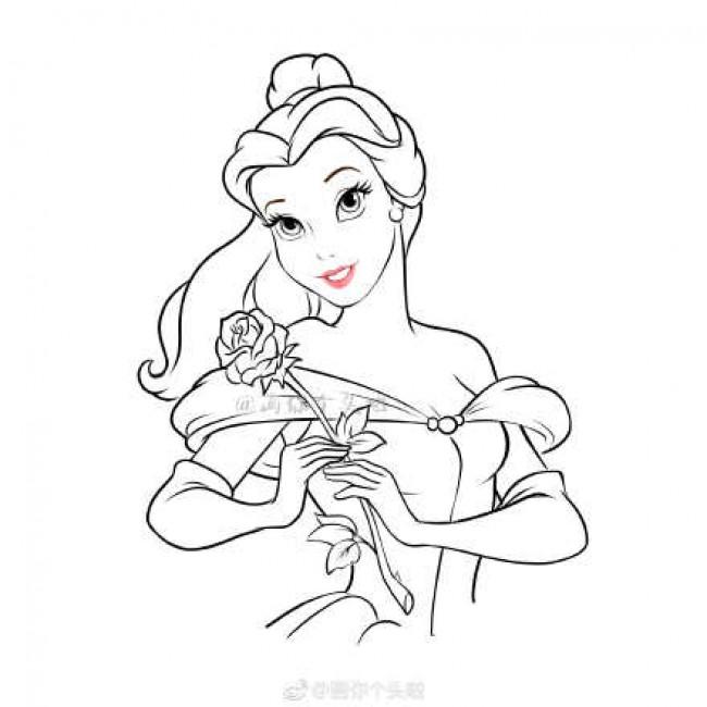 美女与野兽贝儿公主怎么画 贝儿公主简笔画画法教程图片