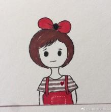 带蝴蝶结的bobo头小女生简笔画教程图片 可爱小女生卡通画画法