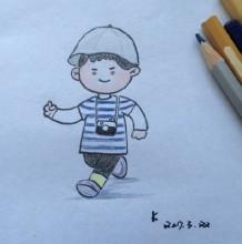爱拍照的小男孩简笔画教程 带着相机出去玩的小男孩简笔画怎么画