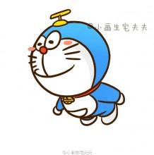 带着竹蜻蜓飞翔的哆啦A梦简笔画教程步骤图片 飞翔的哆啦A梦怎么画
