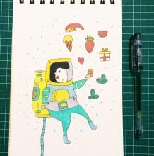 可爱的宇航员简笔画怎么画教程图片 宇航员的画法 宇航员卡通画