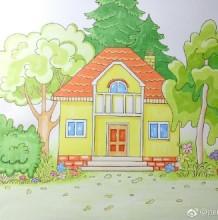简单的小房子马克笔简笔画教程图片 树木围绕的小房子小别墅卡通画怎么画