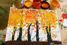 简单的树木和树叶色彩儿童画教程图片彩色 秋天树叶树木儿童画画法 怎么画