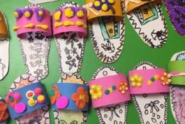 剪纸画画加粘土制作创意小拖鞋儿童画手工拼贴画图片彩色 幼儿小拖鞋儿童画