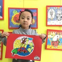 行驶中的小汽车儿童画图片彩色作品 小汽车房子街景创意儿童画
