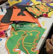 一组小动物剪纸拼贴画图片素材 乌龟,小鸟,兔子,章鱼,松鼠儿童画手工画