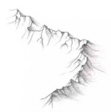 简单的山脉怎么画?立体的山脉的简笔效果 带阴影关系图片 山脉的画法