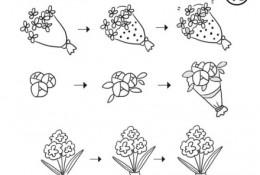 情人节鲜花简笔画教程图片 包装好的鲜花简笔画怎么画 简单的鲜花画法