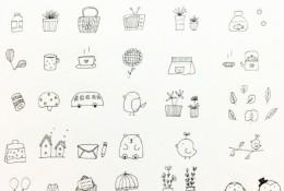 超简单简笔画大全图片 适合新手和亲子绘画 简单的黑白线稿简笔画小物