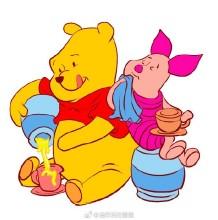 维尼小熊和小猪皮杰一起的简笔画教程图片彩色画法