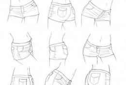 漫画女生齐B小短裤各角度展示图片 女生超短牛仔裤漫画怎么画的画法