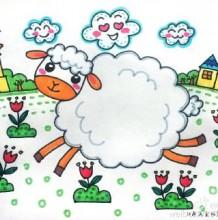可爱小羊羔儿童画教程步骤图片彩色 可爱的羊咩咩儿童画画法 羊咩咩怎么画