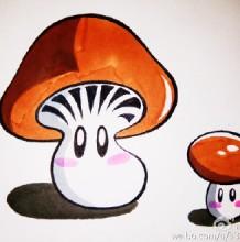 大蘑菇和小蘑菇的简笔画教程彩色图片带步骤 可爱的亲子小蘑菇简笔画画法