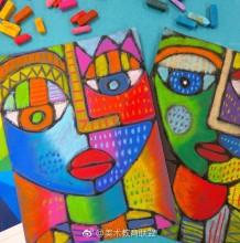儿童色彩训练 临近色的运用 人物抽象画的上色训练教程图片