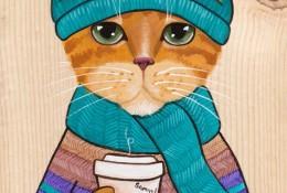 一组时尚感十足的猫先生插画作品图片 拟人的猫人物插画作品 色彩很美