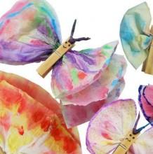 纸巾的色彩晕染手工创意 用餐巾纸制作蝴蝶,花朵,小鸟的创意色彩手工