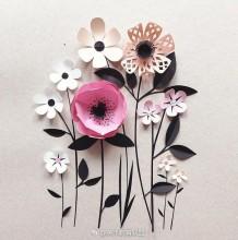 用剪纸创作的艺术画 清新唯美 艺术家Hanna Nyman的美丽纸花艺术作品