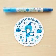 日本手帐达人mizutama的水彩笔简笔画作品 画在圆纸片上的小清新插画