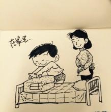 妈妈教孩子做家务叠被子的简笔画教程图片 勤奋做家务叠被子的小男孩简笔画