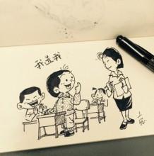 小朋友上学简笔画教程图片 一年级小朋友学生上课环境老师主题简笔画图片