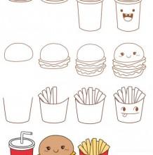 快餐薯条可乐汉堡包简笔画教程图片 薯条可乐汉堡包怎么画 简单的画法