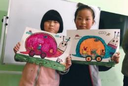 创意蜗牛车儿童画作品 线稿加上色彩色 有趣的蜗牛汽车儿童画图片