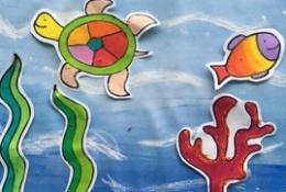 海洋海归海草海鱼儿童画 创意海洋风拼贴手工画图片教程