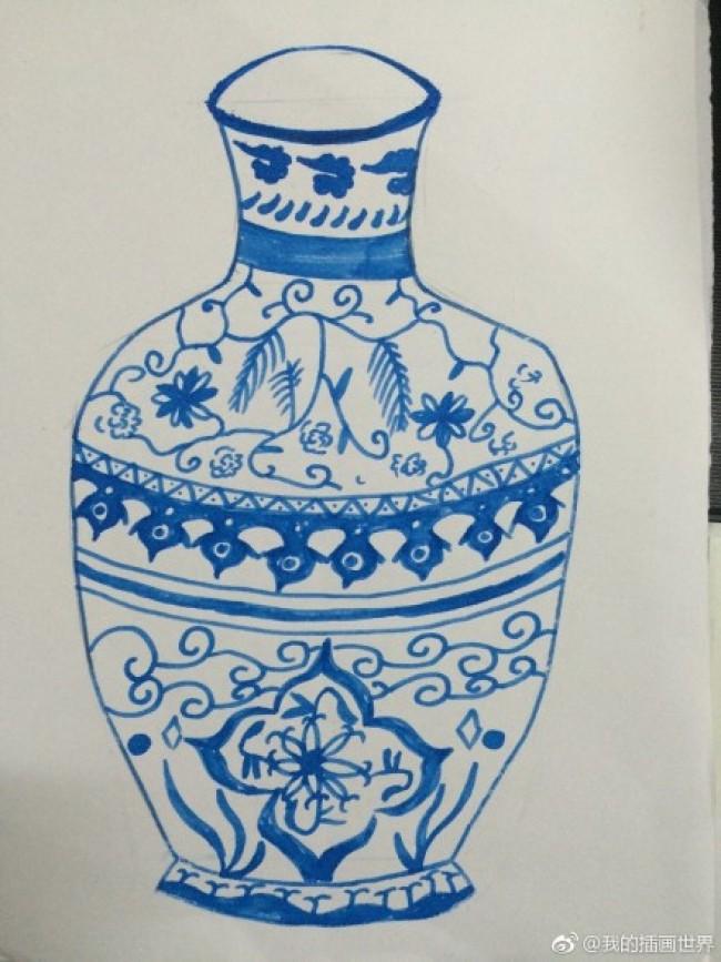 青花瓷的儿童画图片素材 儿童画版青花瓷图片