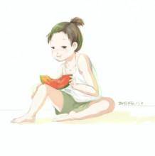 夏天吃西瓜的女生简笔漫画插画画法教程 夏天吃西瓜的女汉子怎么画