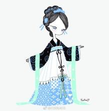 身穿世界各国服饰的女生简笔插画图片素材 世界各国传统服饰女生画法