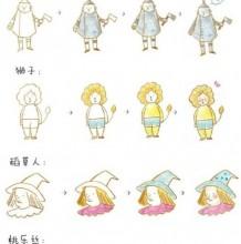 《绿野仙踪》多萝西、稻草人、铁皮人和狮子简笔画教程图片 童话人物