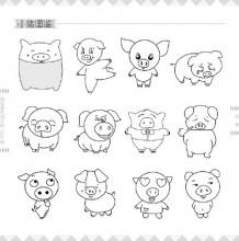 小动物简笔画图例图片合集 猪+鸡+牛+羊+兔子 简笔画怎么画