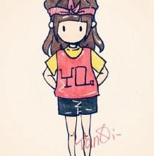 一组画风甜美又卡哇伊的美少女萝莉简笔画手绘图片彩色