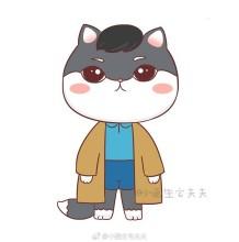 Q版蓝白英短猫咪简笔画教程图片彩色 穿风衣帅气的猫咪先生简笔画