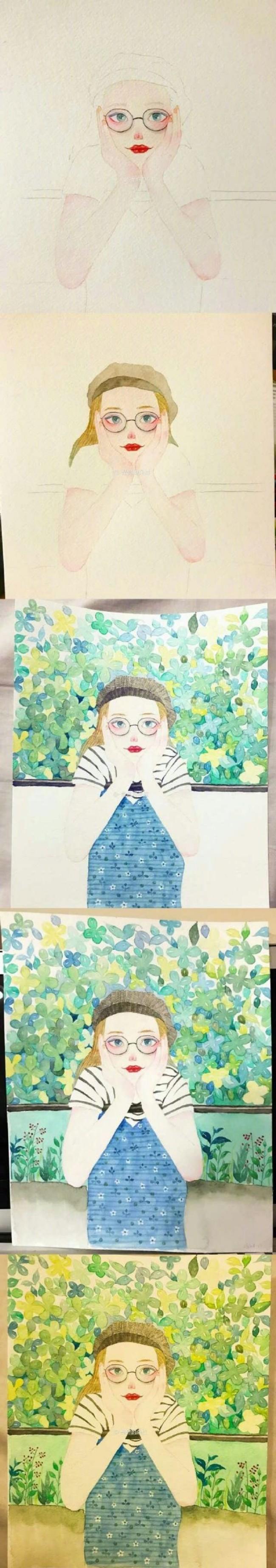 精美水彩女生人物手绘教程图片彩色 带上色步骤 唯美森系女生(3)