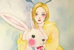 精美水彩女生人物手绘教程图片彩色 带上色步骤 唯美森系女生