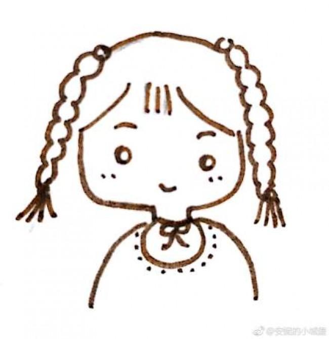 最简单的小女孩的简笔画图片 适合小孩子画的小女生简单儿童画(2)