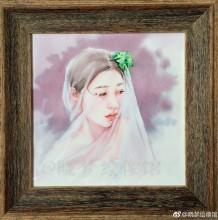 披着婚纱头巾的唯美少女水彩插画教程图片 上色步骤过程