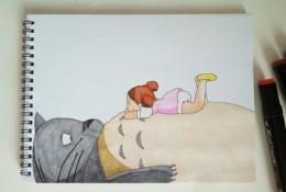 龙猫和小月温馨马克笔画教程图片 上色步骤过程