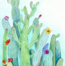 绿意盎然的仙人掌水彩画教程图片步骤 心情超好的