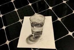 超逼真3D写实透明玻璃水的铅笔画教程步骤图片 看大神是怎么绘画的